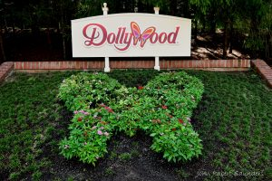 Dollywood sign with plants shaped like a butterfly