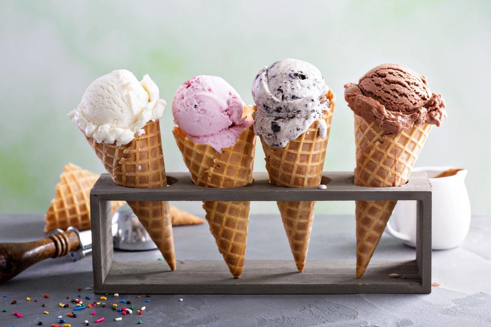 Ice cream in waffle cones